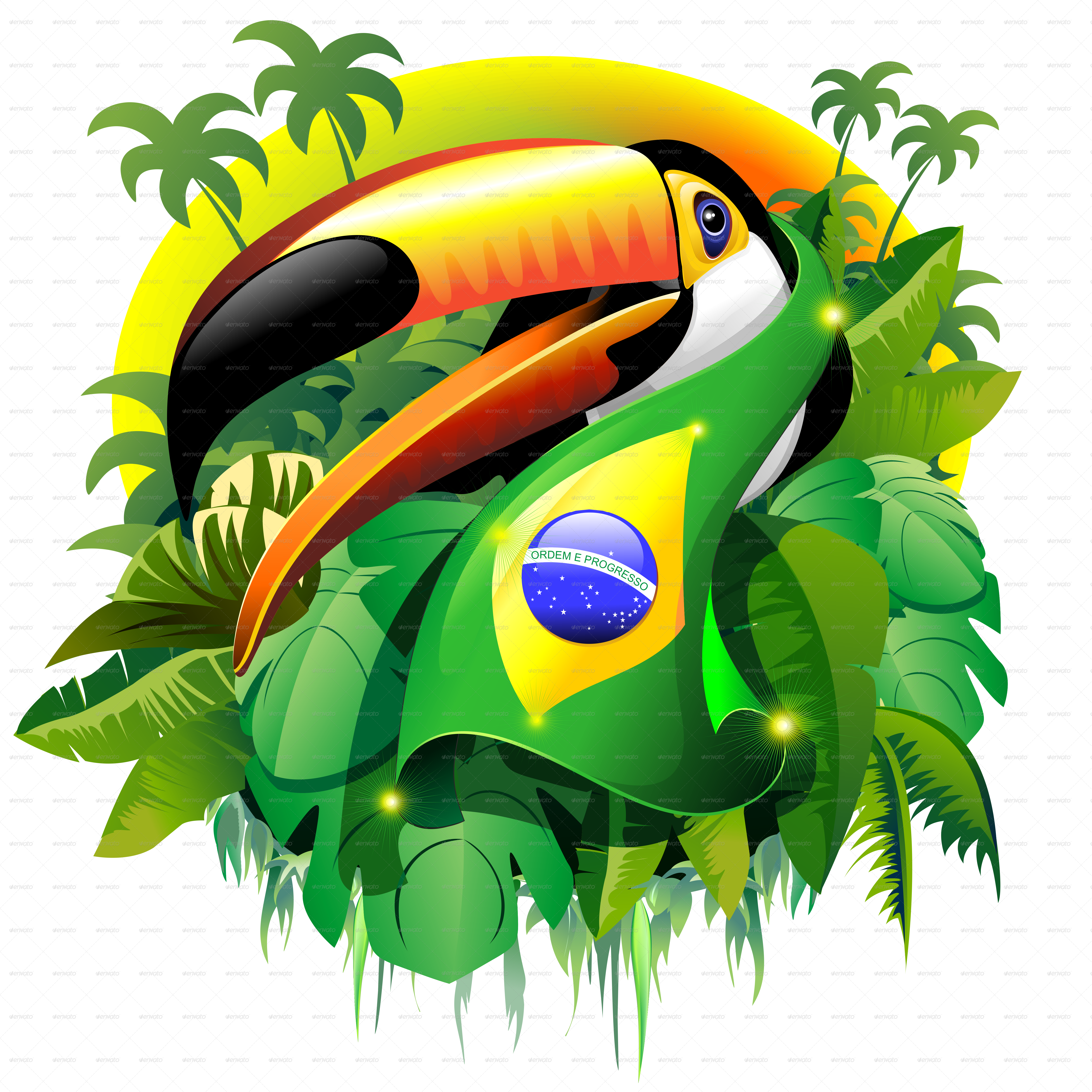 Toco toucan with brazil flag by bluedarkat graphicriver