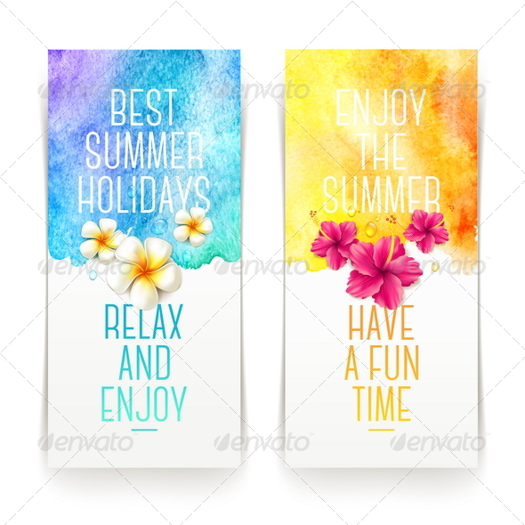 GraphicRiver Summer Holidays Banners with Tropical Flowers 7605397