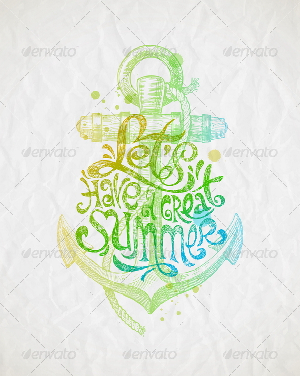 GraphicRiver Summer Holidays Greeting with Anchor 7605438