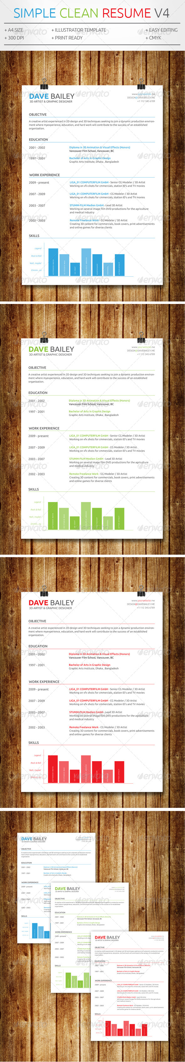 GraphicRiver Simple Clean Resume V4 7605448