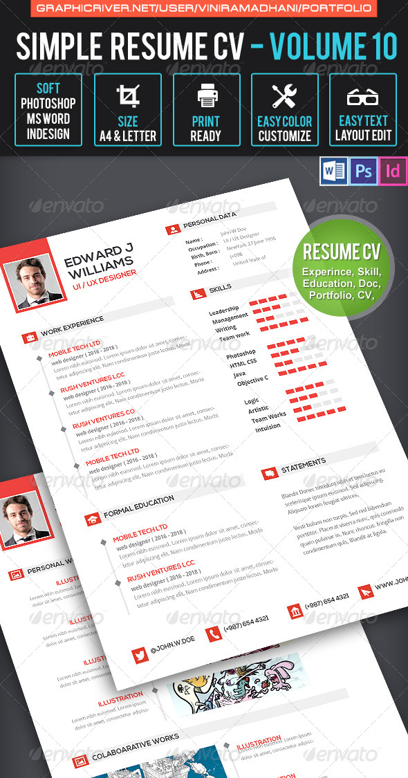 GraphicRiver Clean Resume CV Volume 10 7605465