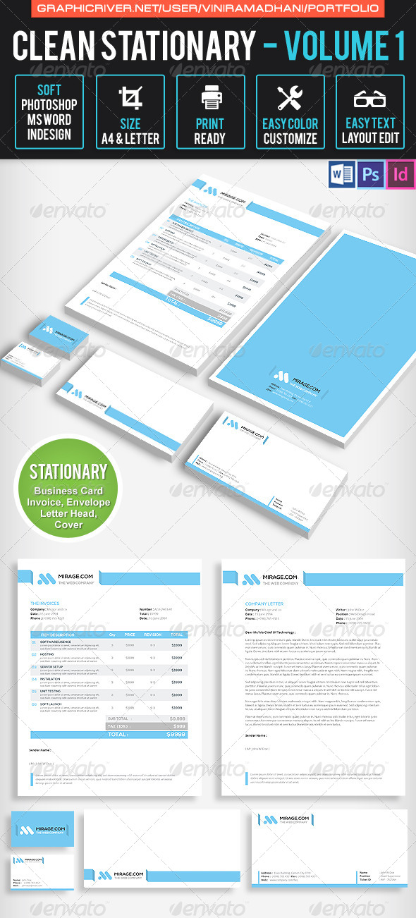 GraphicRiver Clean Stationary Volume 1 7605582