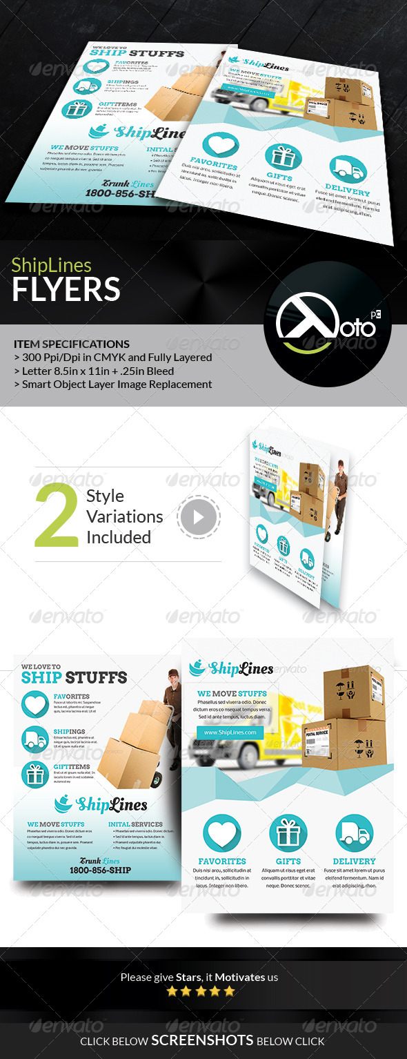 GraphicRiver Ship Lines Shipping Service Flyers 7605703