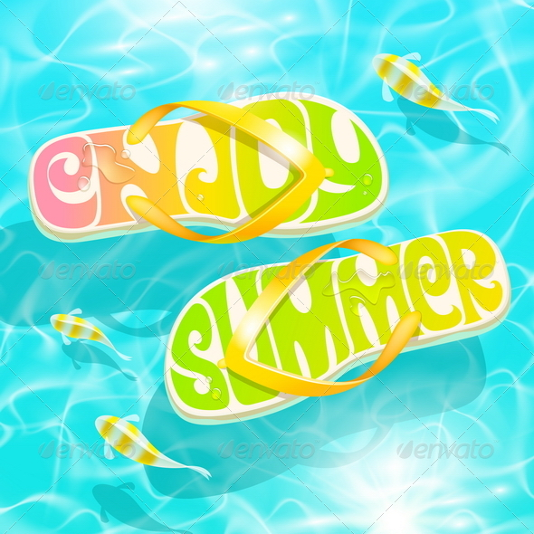 GraphicRiver Flip-Flop with Summer Greeting 7605727