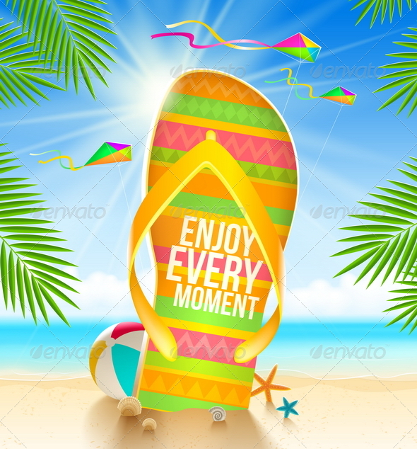 GraphicRiver Flip-Flop with Summer Greeting on Beach 7605742
