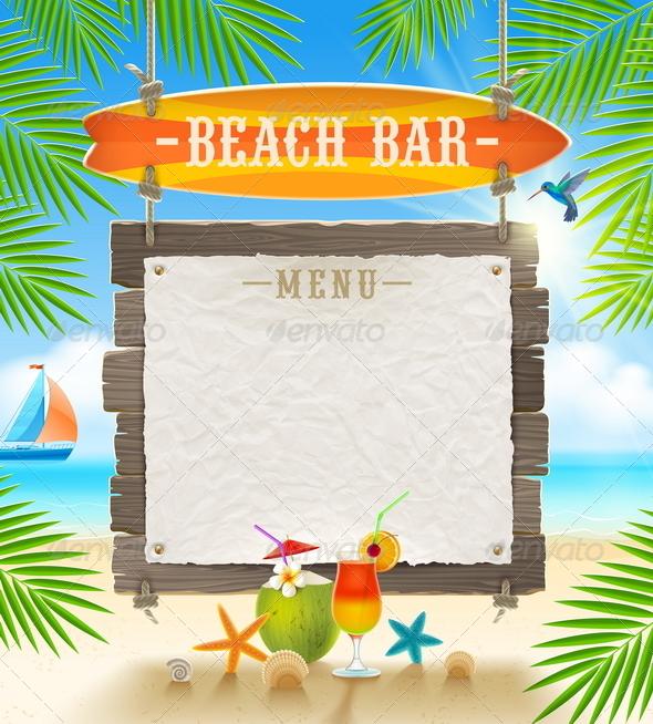 GraphicRiver Tropical Beach Bar Menu Banner 7605772