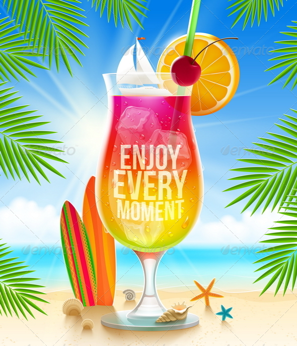 GraphicRiver Cocktail and Summer Greeting on Tropical Beach 7605803