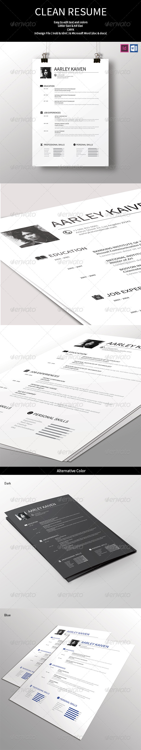 GraphicRiver Simple & Clean Resume 7606002