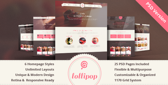 ThemeForest Lollipop Awesome Sweets & Cakes Template 7606262