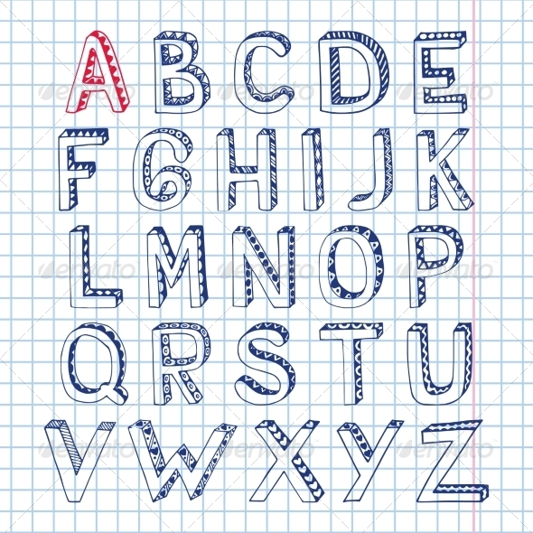 GraphicRiver Sketch Alphabet Font Notebook 7606466