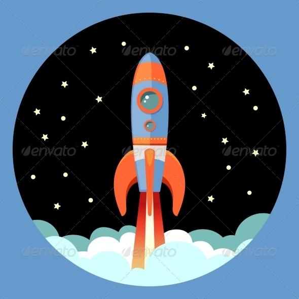 GraphicRiver Rocket Start Emblem 7606472
