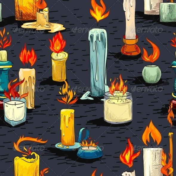 GraphicRiver Candle Sketch Seamless Pattern 7606482