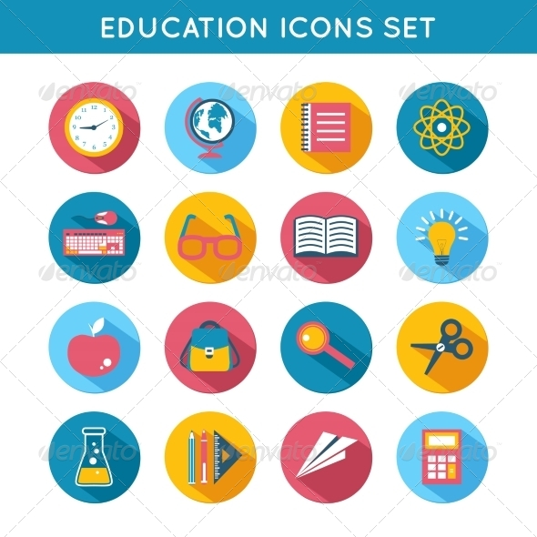 GraphicRiver Education Icons Flat Set 7606509