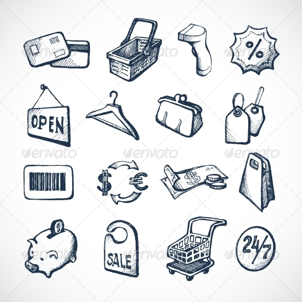 GraphicRiver Shopping Sketch Icons 7606516