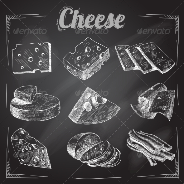 GraphicRiver Cheese Chalkboard Collection 7606556