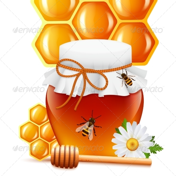 GraphicRiver Honey Jar with Dipper and Comb Print 7606564
