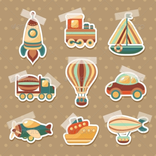 GraphicRiver Transport Toy Stickers Set 7606575