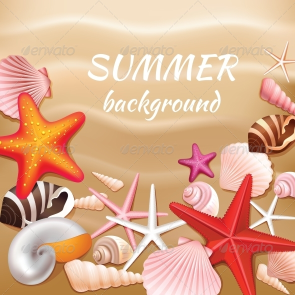GraphicRiver Seashell Sand Summer Background 7606591