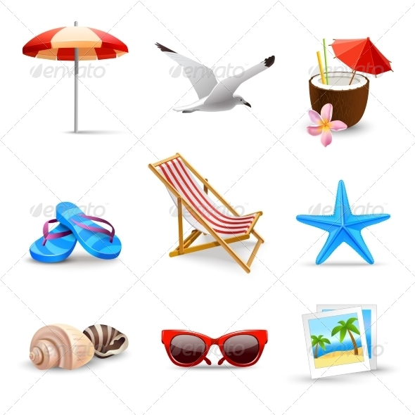 GraphicRiver Realistic Summer Vacation Icons 7606594