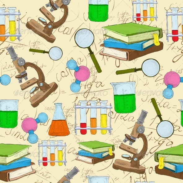 GraphicRiver Science Sketch Seamless Background 7606603