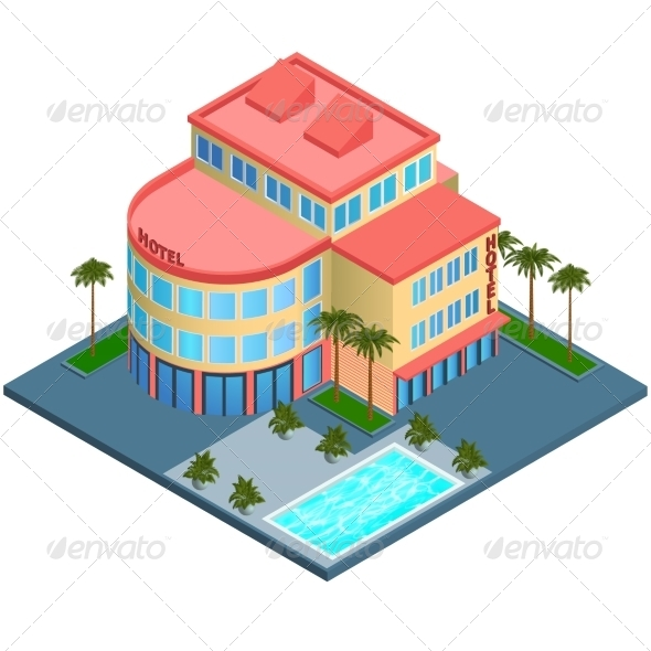 GraphicRiver Hotel Building Isometric 7606618