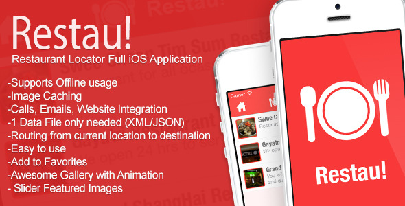 CodeCanyon Restau Full Restaurant Locator iOS Application 7571535