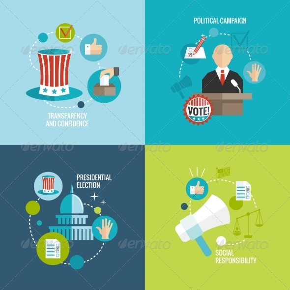 GraphicRiver Elections Icons Flat Decorative Set 7606705