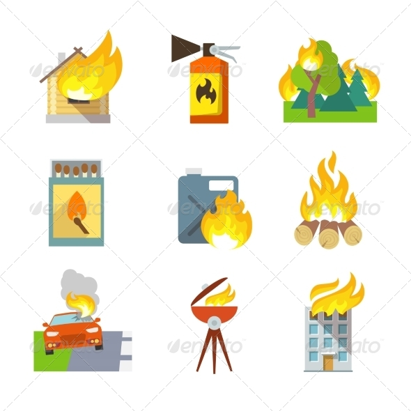 GraphicRiver Fire Protection Icons 7606708