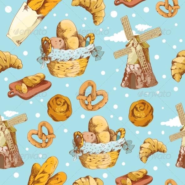 Bakery Hand Drawn Seamless Pattern