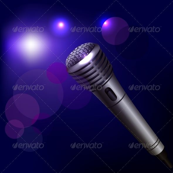 GraphicRiver Microphone Emblem on Dark Background 7606721