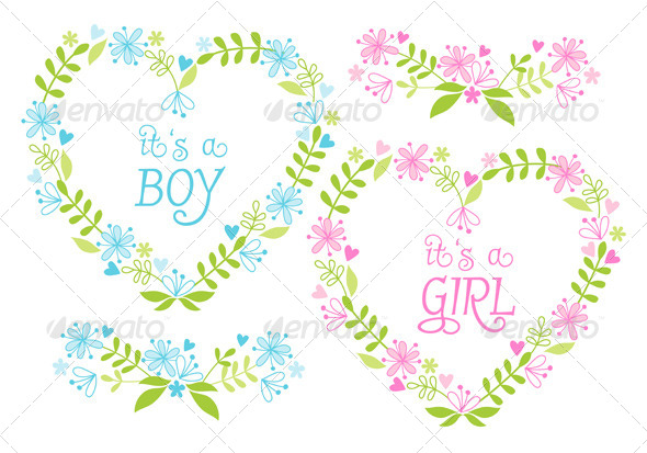 GraphicRiver Baby Boy and Girl Floral Heart Frames Set 7608333