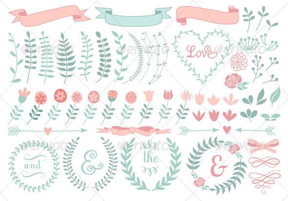 GraphicRiver Floral Laurel Wreath Set 7608343