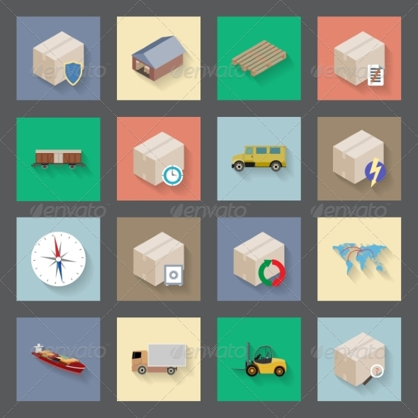 GraphicRiver Transportation and Delivery Flat Icons Set 7609025