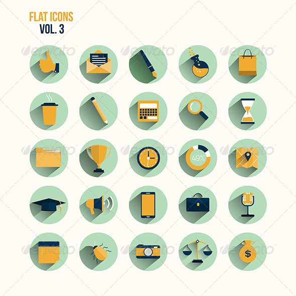 GraphicRiver Modern Flat Icons Collection with Long Shadow 7609734