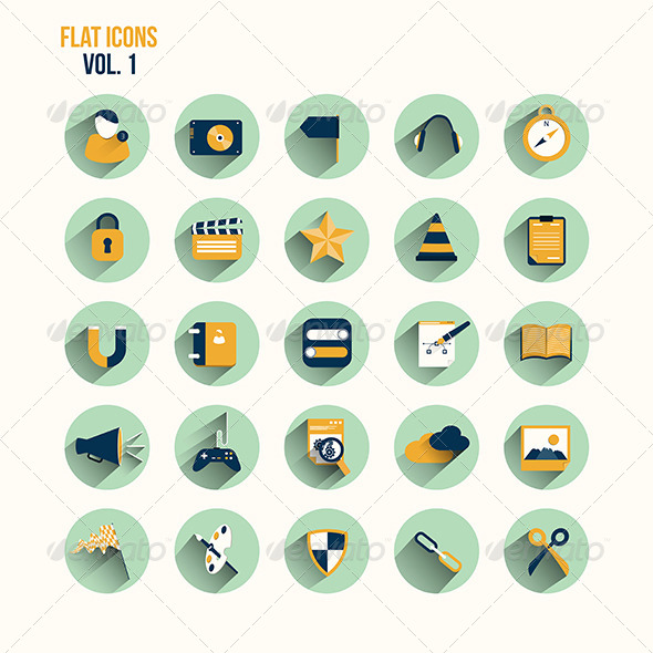 GraphicRiver Modern Flat Icons Collection with Long Shadow 7609740