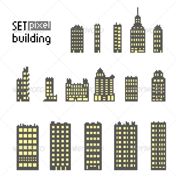 GraphicRiver Set of Pixel Building Skyscrapers 7609803