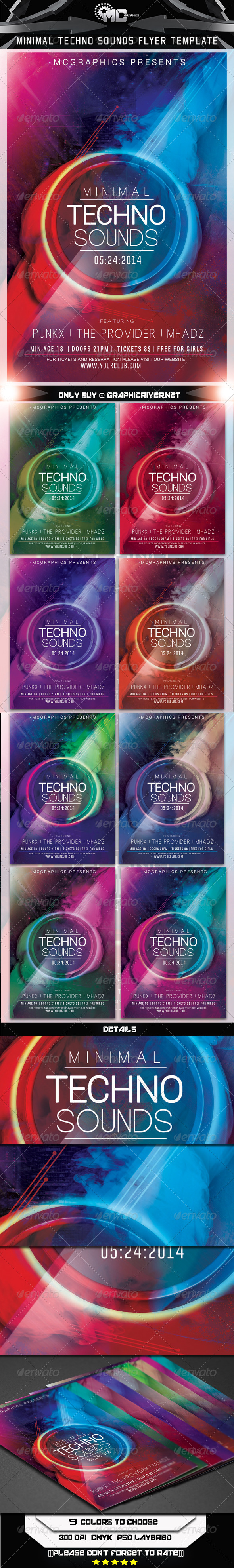 GraphicRiver Minimal Techno Sounds Flyer Template 7609810