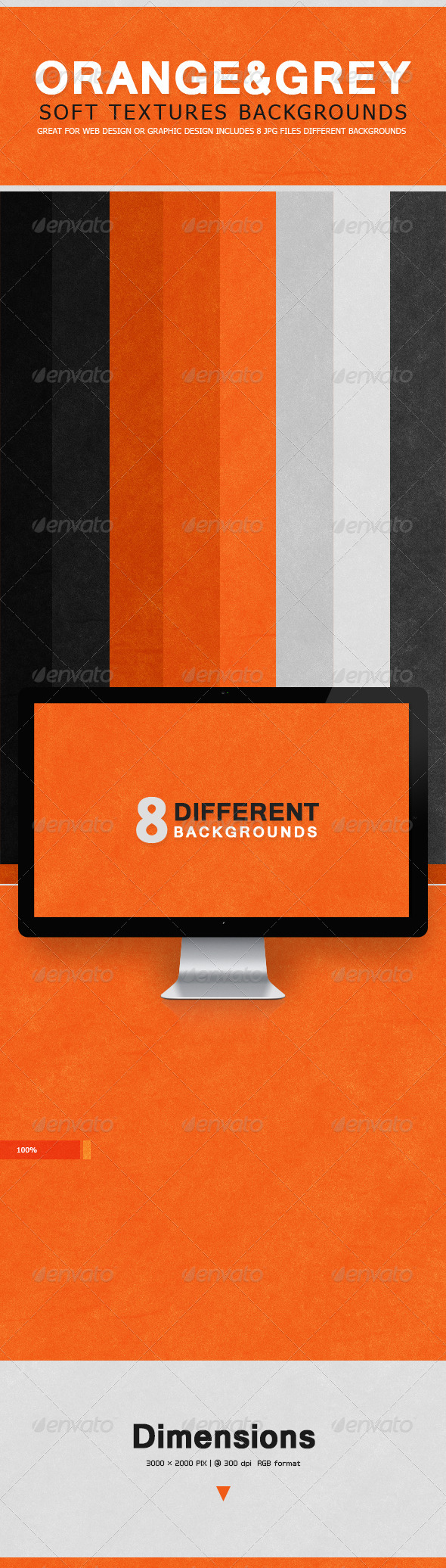 GraphicRiver Soft Textures Backgrounds Orange & Grey 7609825