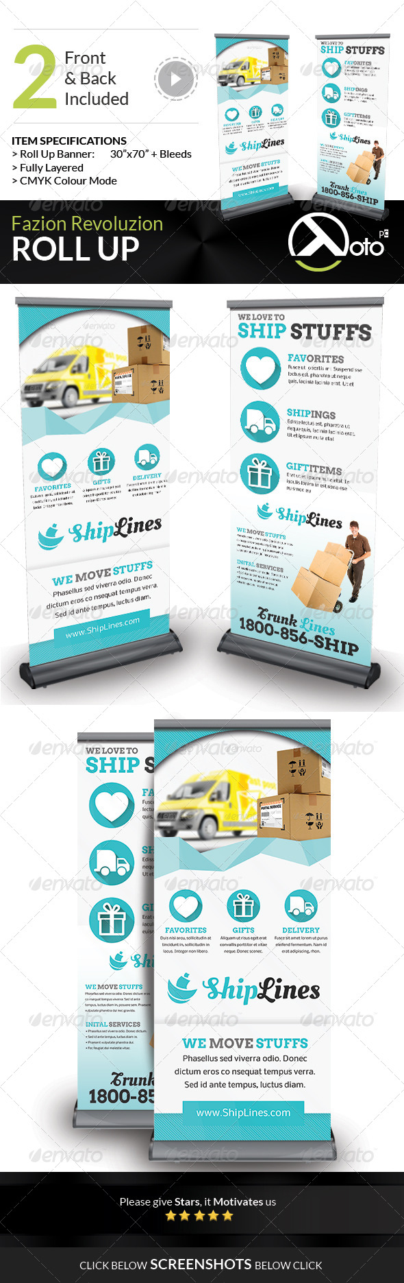 Ship Lines Shipping Service Roll Up - Signage Print Templates