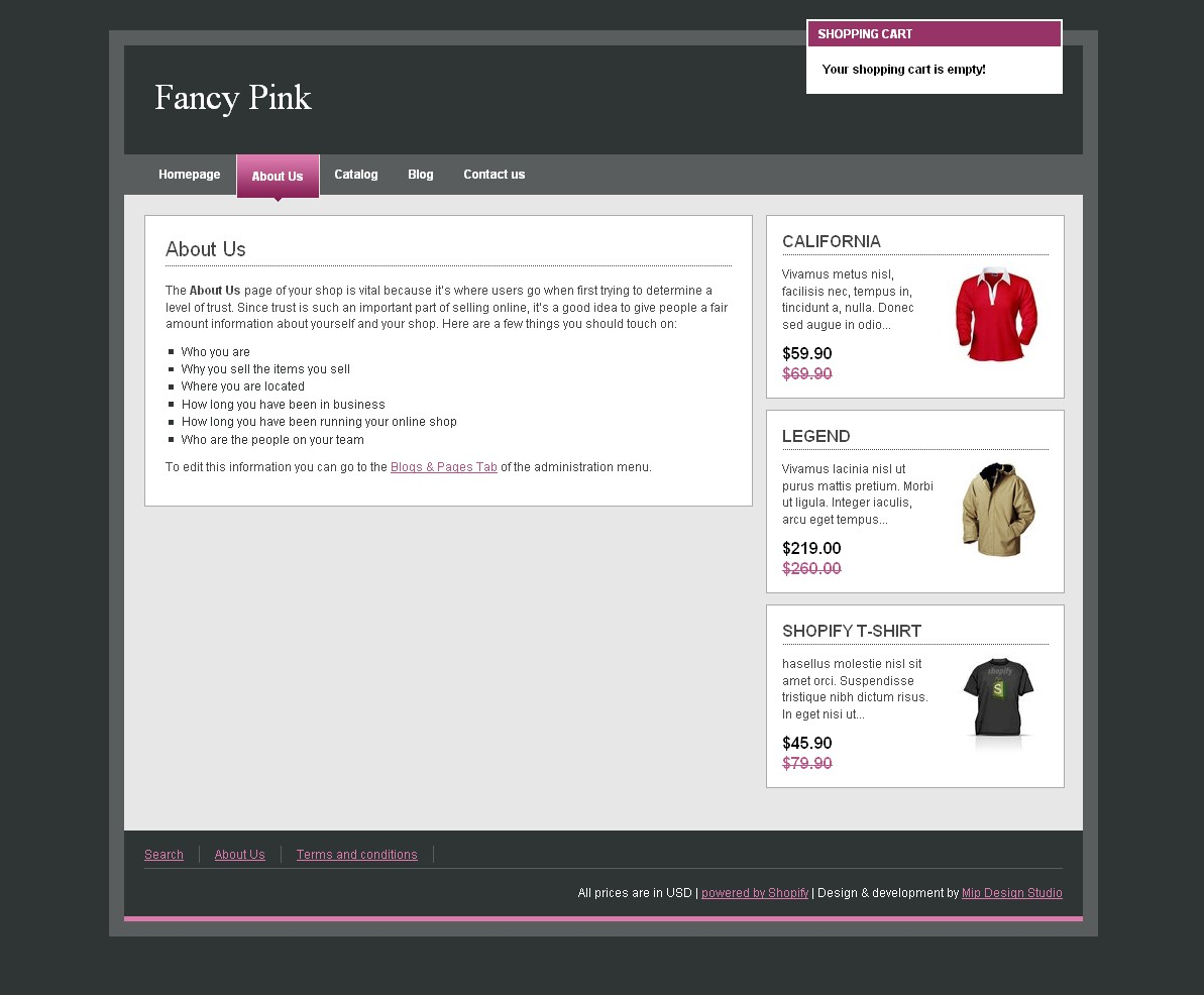 Fancy Pink - Template for standard page