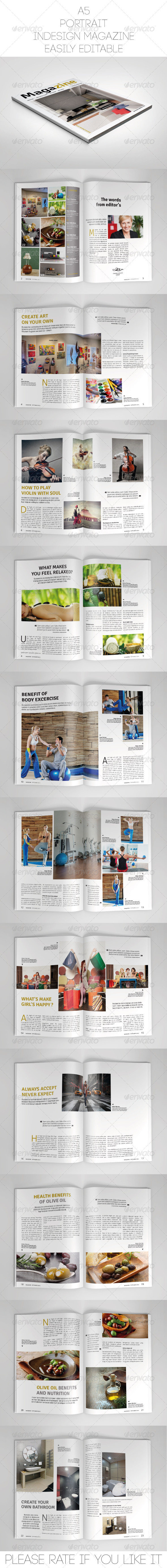 GraphicRiver A5 Portrait Magazine Template 7610165