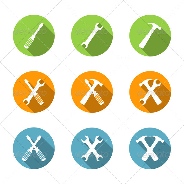 GraphicRiver Flat Tools Icons 7610663