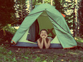 happy boy in camping tent - vintage retro style - PhotoDune Item for Sale