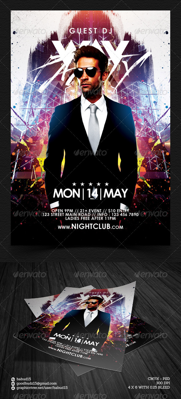 GraphicRiver Electro Guest DJ Flyer Template 7610933