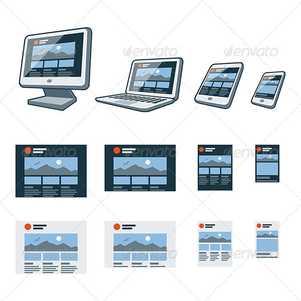 GraphicRiver Responsive Website Design on Different Devices 7611175
