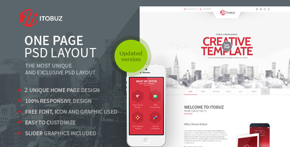Itobuz One Page PSD Template - Business Corporate