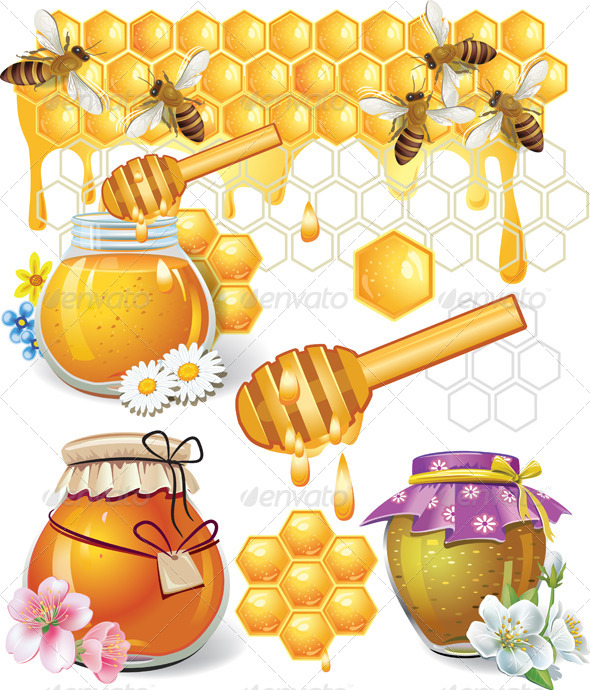 GraphicRiver Illustration of Honey Elements 7611409