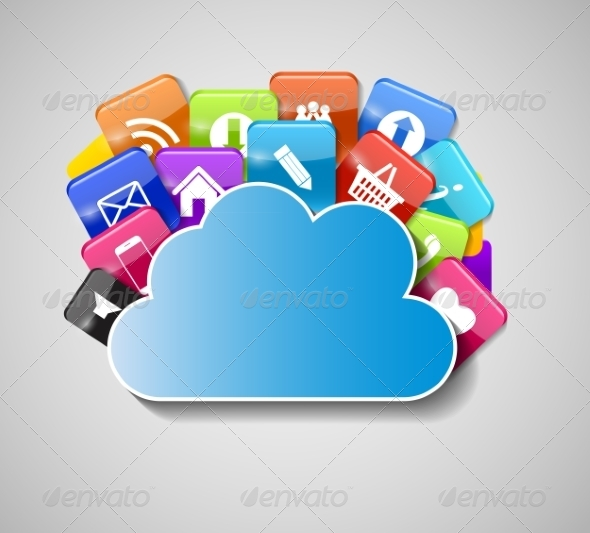 GraphicRiver Cloud Computing Concept Illustration 7611617