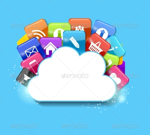 GraphicRiver Cloud Computing Concept Illustration 7611730