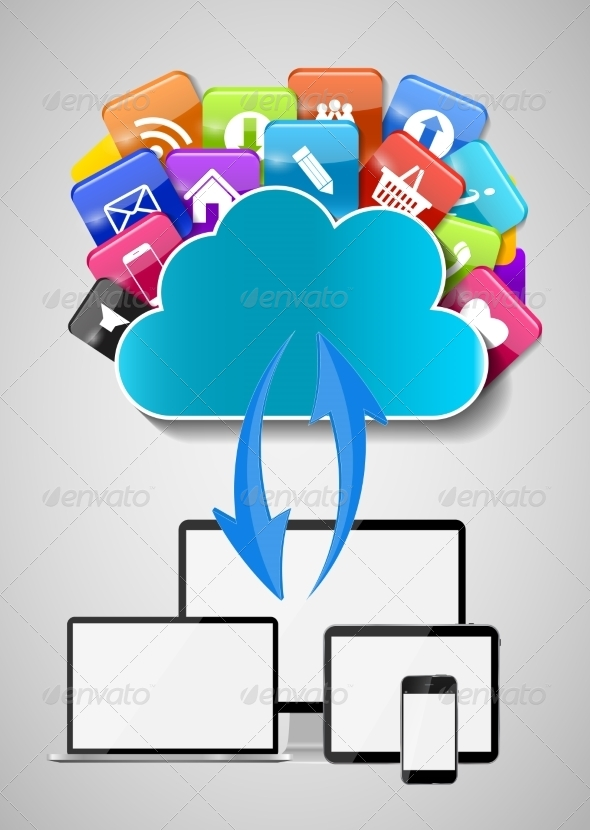 GraphicRiver Cloud Computing Concept Illustration 7611740